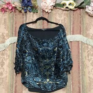 (Dalia) Black Blue Gold Sheer Floral Blouse- Large